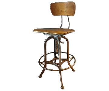Vintage Industrial Metal Swivel Drafting Stool