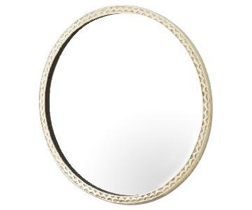West Elm Thin Textured Brass Round Mirror