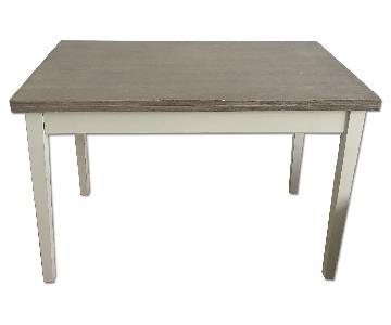 Wood & White Metal Extendable Desk