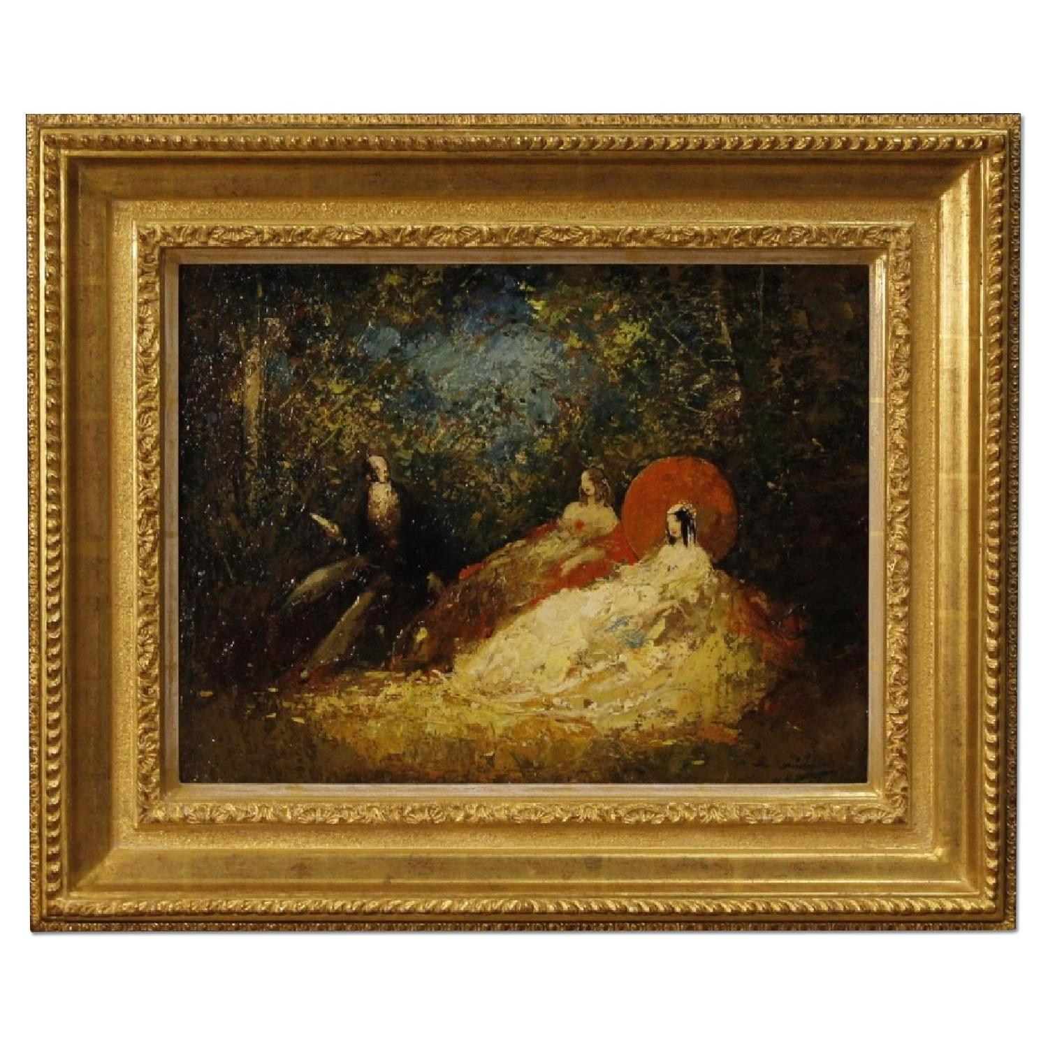 French Signed Painting Oil On Masonite Romantic Scene
