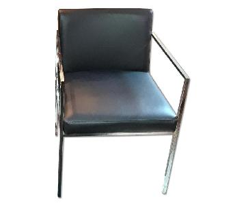 European Style Stainless Steel & Leather Seats Accent Chair