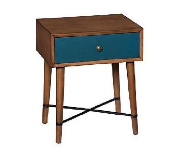 Mid Century Modern Blue End Side Table w/ 1 Drawer