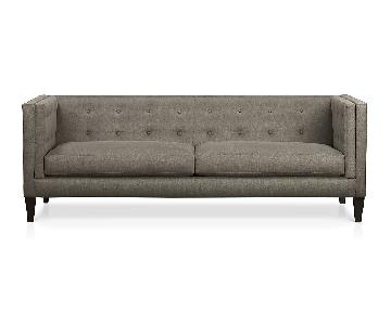 Crate & Barrel Aidan Grey Modern Tufted Apartment Sofa