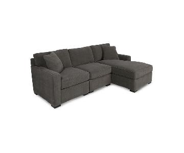 Macy's Radley Grey 3-Piece Sectional Sofa