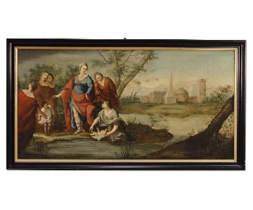Antique French Religious Painting Biblical Scene Oil Canvas