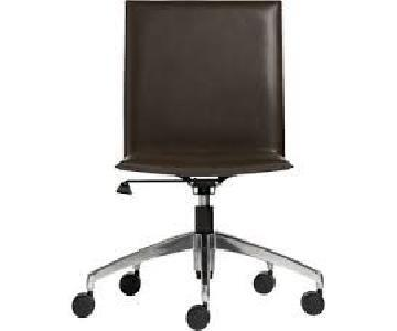 Crate & Barrel Folio Chocolate Leather Office Chair