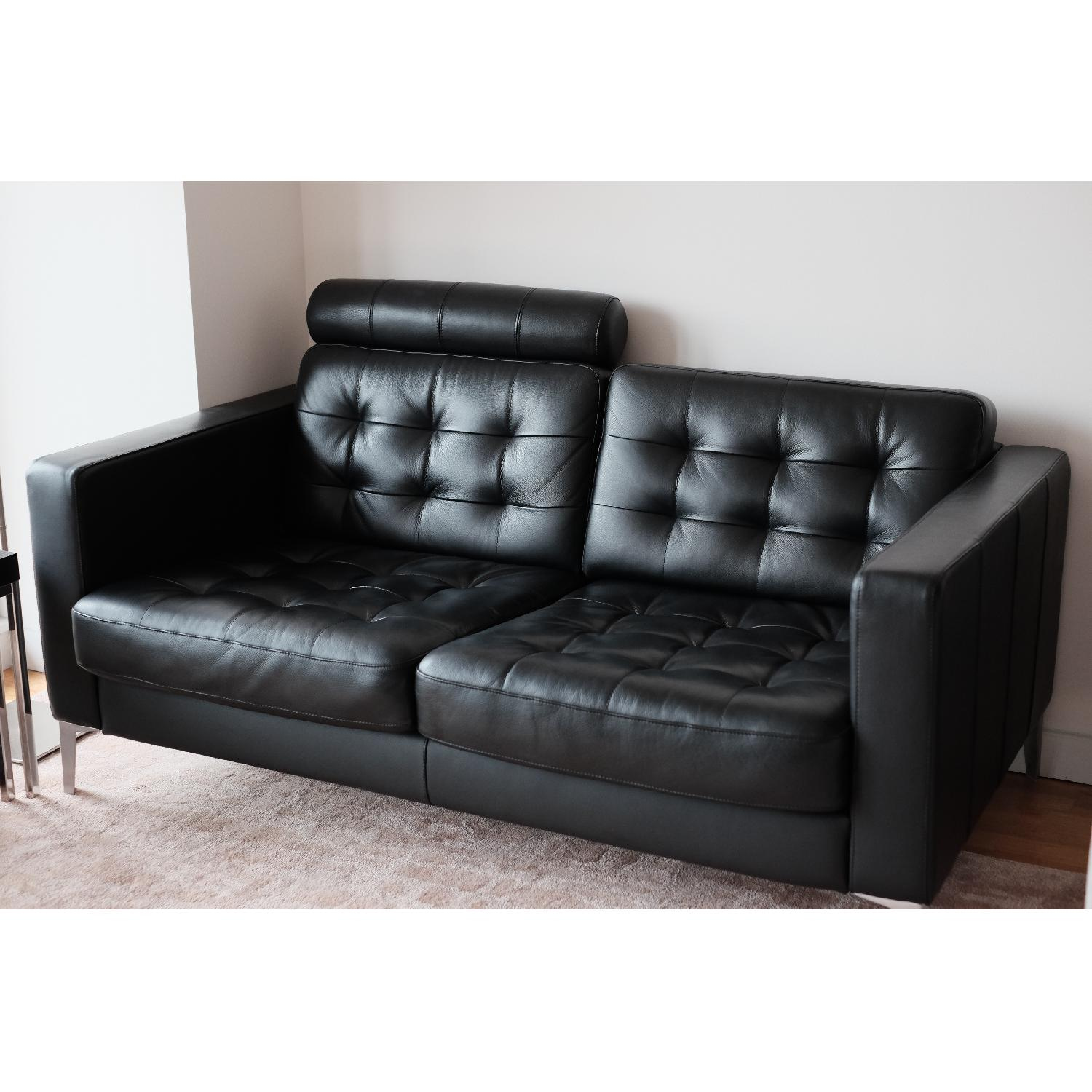 Ikea Karlstad Black Leather Loveseat ...
