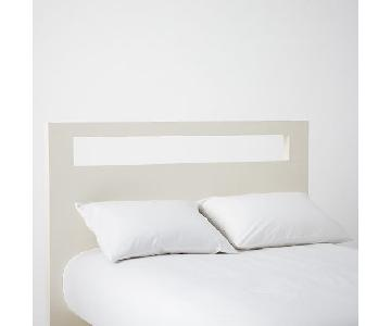 West Elm Wood Bed Frame w/ Low Wood Cutout Headboard