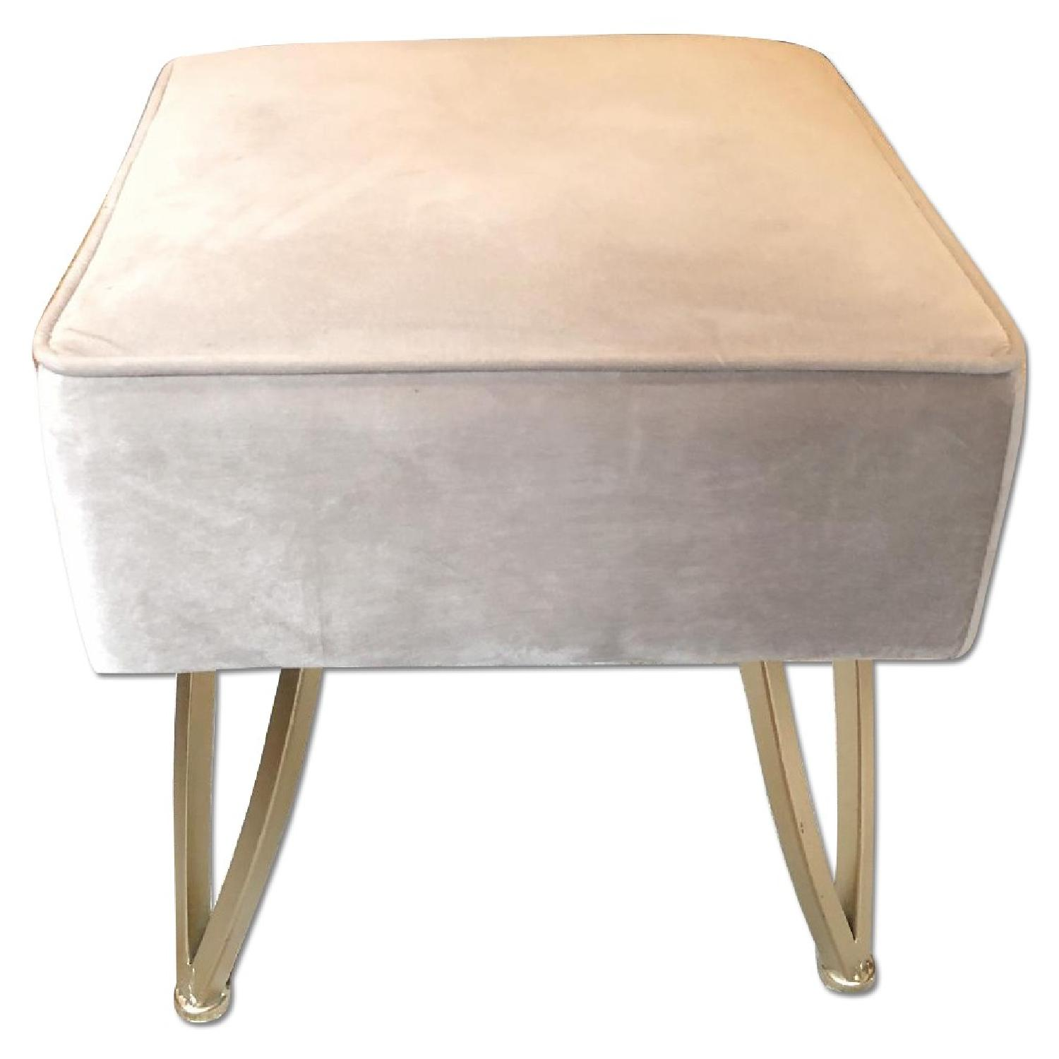 Velvet Gray & Gold Stool