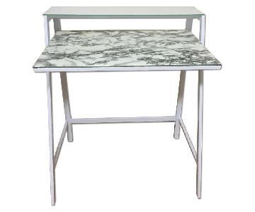 White Faux Marble Desk
