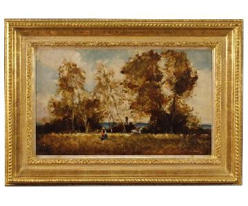 French Signed Painting Oil On Board Landscape w/ Character