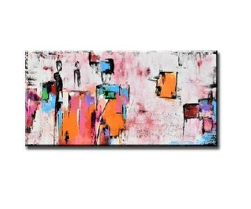 Large Pink Abstract Painting Art