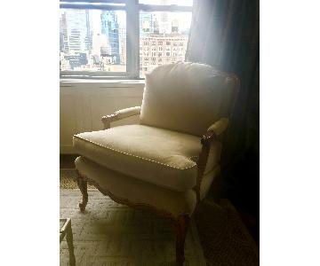 French Bergere Suede Accent Chair
