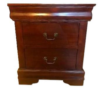 Wood Dark Cherry 3-Drawer Nightstand