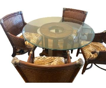 5 Piece Round Glass & Wood Dining Set