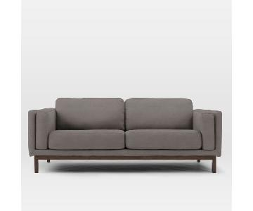 West Elm Dekalb Dark Grey Microsuede Sofa