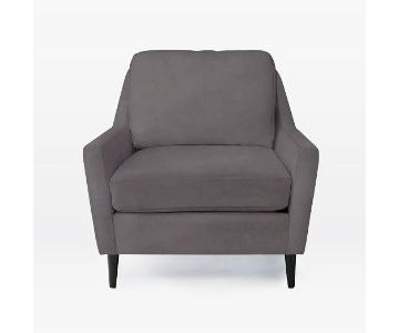 West Elm Everett Dark Grey Microsuede Armchair