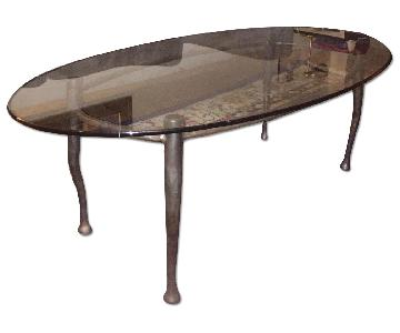 Glass Top Coffee Table w/ Iron legs