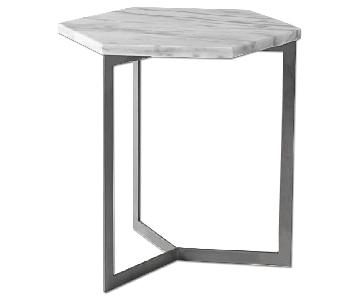 West Elm Hex White Marble & Steel Side Table
