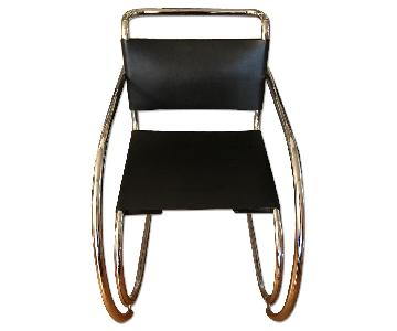 Palazzetti Mies Van der Rohe Chair in Chrome/Black Leather