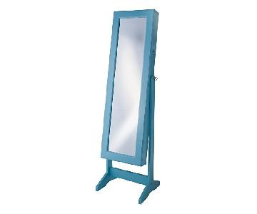 Turquoise Free Standing Cheval Jewelry Armoire