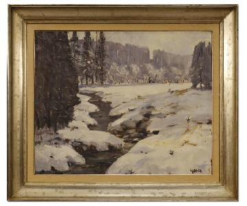 Belgian Signed Painting Oil On Canvas Snowy Landscape