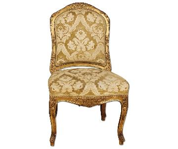 French Lounge Chairs In Gilt Wood & Damask Velvet
