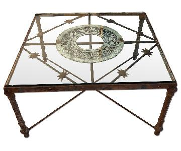 Wrought Iron Glass Coffee Table w/ Architectural Elements