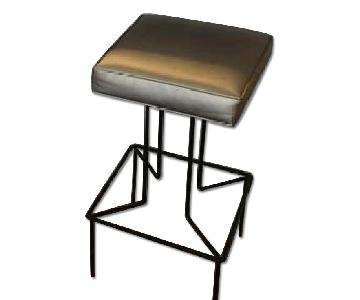 Beige Leather Backless Bar Stool