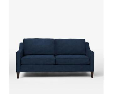 West Elm Sofa in a Deep Blue Performance Velvet