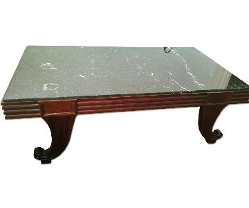 Baker Black Marble Top Inset Coffee Table