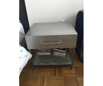 Grey Metal Nightstand