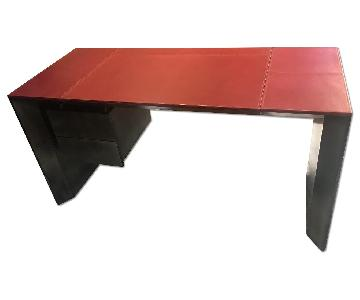 Moura Starr Custom Leather Hardwood Desk
