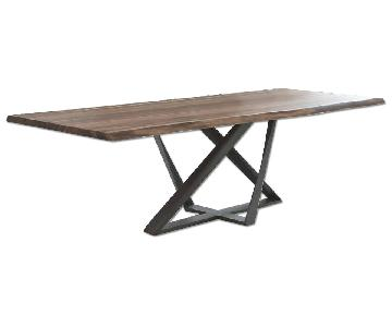 WH Design Walnut Live Edge Dining Table w/ Steel Base