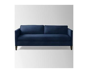 West Elm Dunham Navy Blue Velvet Sofa