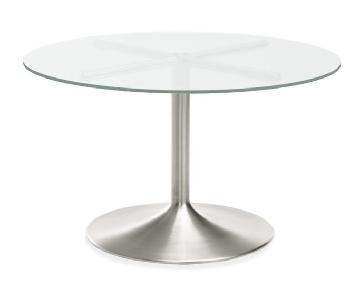 Room & Board Aria Stainless Steel Glass Top Round Table