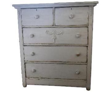 Vintage Shabby Chic White 5 Drawer Dresser