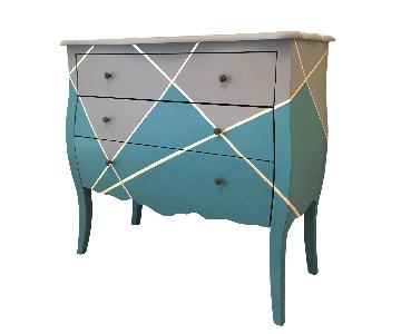 Modern Gray & Teal Chest w/ Gold Accents