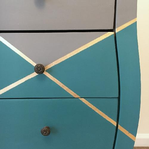 Used Modern Gray & Teal Chest w/ Gold Accents for sale on AptDeco