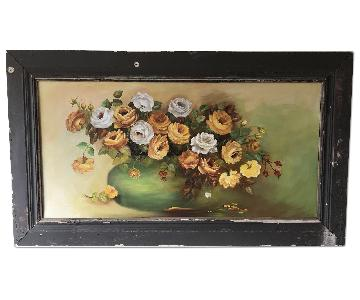 Vintage Shabby Chic Floral Oil Painting