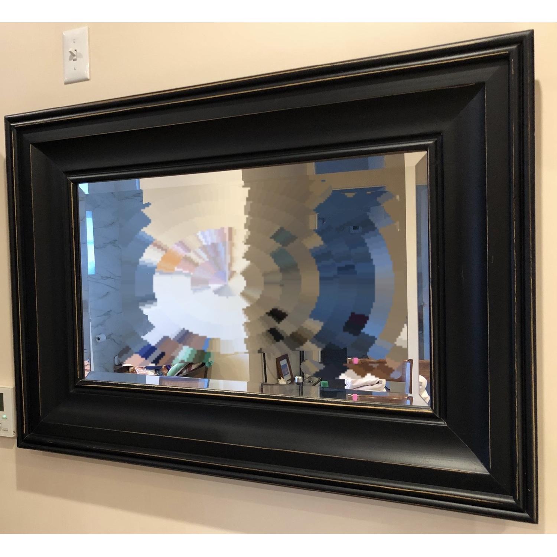 Pottery Barn Black Wood Frame Mirror - AptDeco