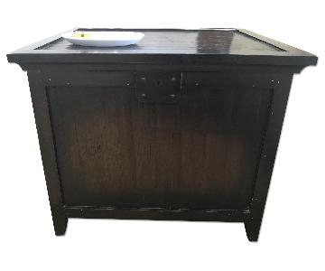 Dark Brown Rustic Wood Night Table
