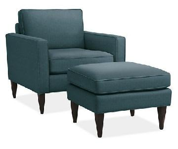 Room & Board Murray Armchair & Ottoman in Teal