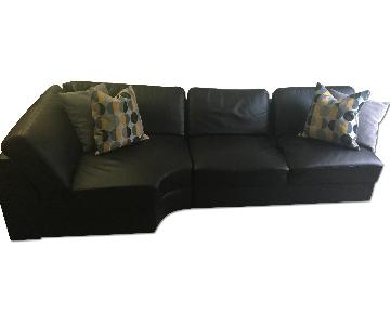 Black Faux Leather 2 Piece Sectional Sofa