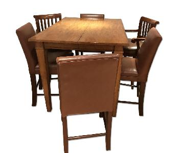 Ethan Allen Walnut Pub Expandable Table w/ 6 Leather Chairs