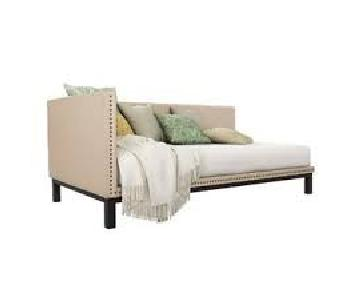 DHP Mid Century Modern Upholstered Twin Daybed in Tan