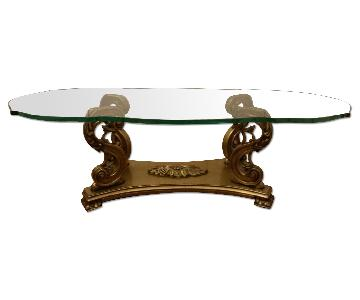 Glass Top Antique Style Coffee Table