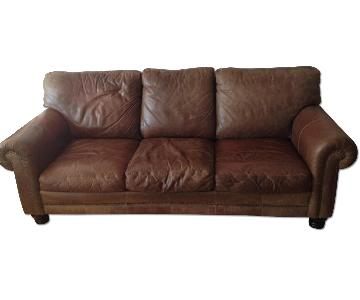 La-Z-Boy Nubuck Distressed Leather Couch