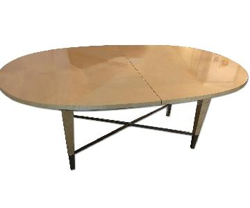 Italian Oval Dining Table w/ Burled Blonde Wood Insets