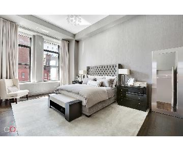 Lewis Mittman Tufted Grey Bed w/ Rumley Headboard